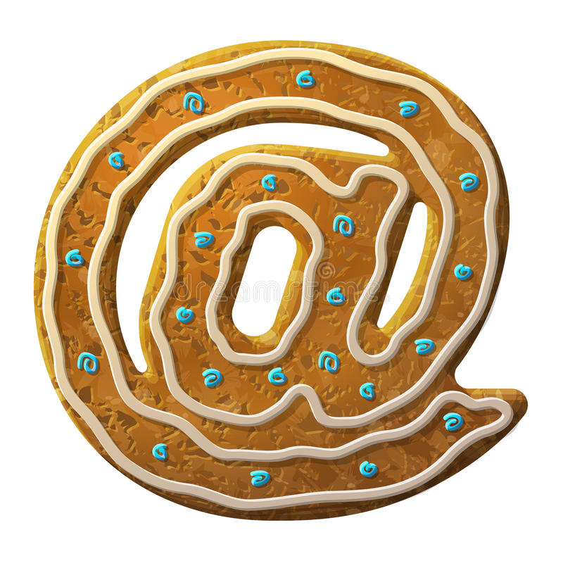 姜饼邮件标志装饰了色的结冰 向量例证