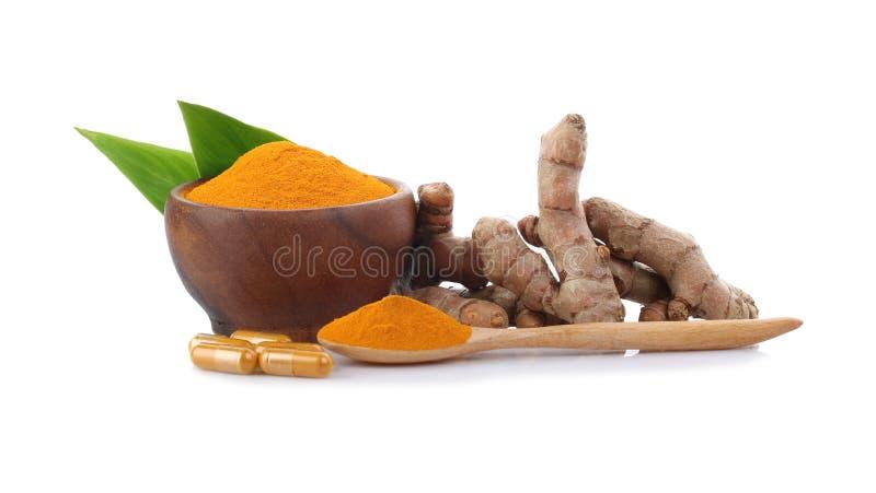 姜黄、姜黄粉末和姜黄胶囊 免版税图库摄影