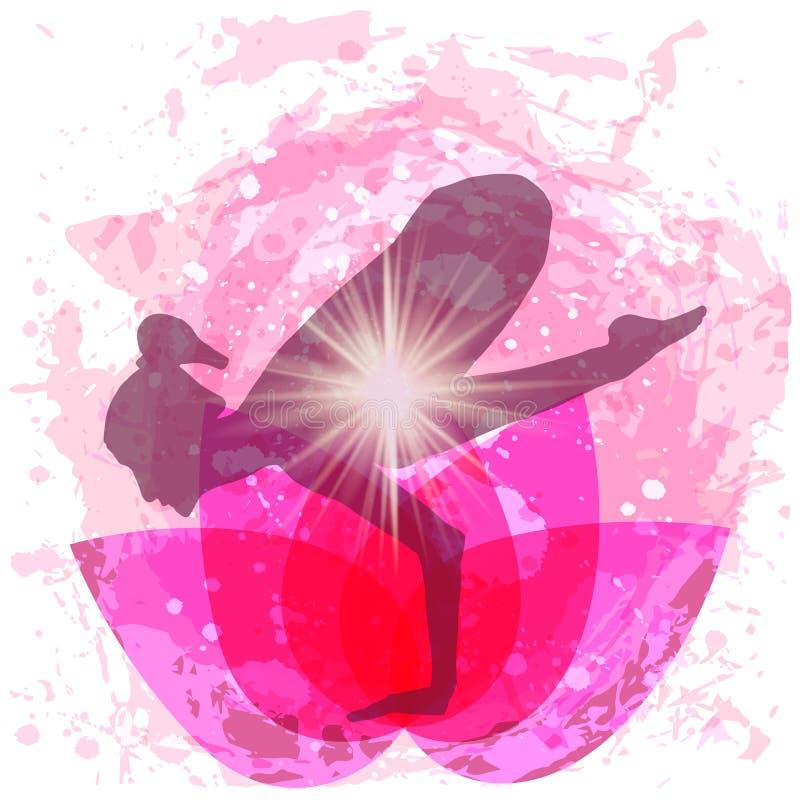 姿势瑜伽的妇女 向量例证