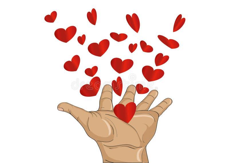 姿态开放棕榈 从被堆积的手飞行红色心脏 向量 皇族释放例证