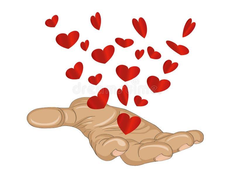 姿态开放棕榈 从被堆积的手飞行红色心脏 向量 库存例证