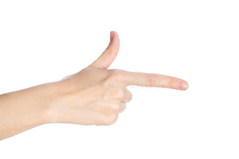 姿态指向 女性手显示在白色背景孤立的食指 库存图片