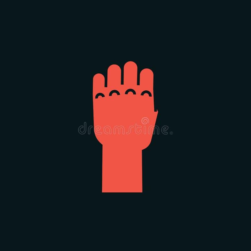 姿态 力量标志 有握紧的所有手指的风格化手 向量 图标 向量例证