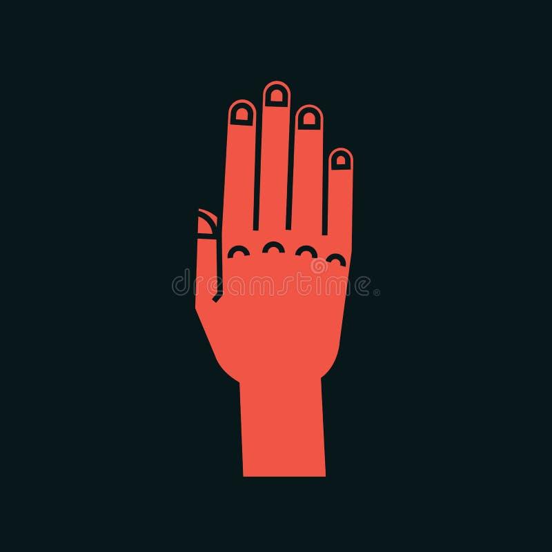 姿态 符号终止 有所有手指的风格化手上升并且连接了 向量 被攻击的 图标 向量例证