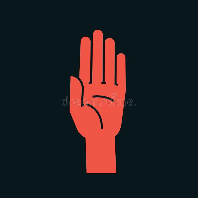 姿态 符号终止 有所有手指的风格化手上升并且连接了 向量 被攻击的 图标 库存例证