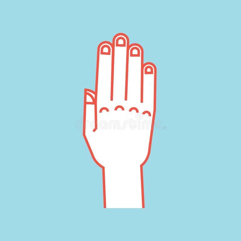 姿态 符号终止 有所有手指的风格化手上升并且连接了 向量 皇族释放例证