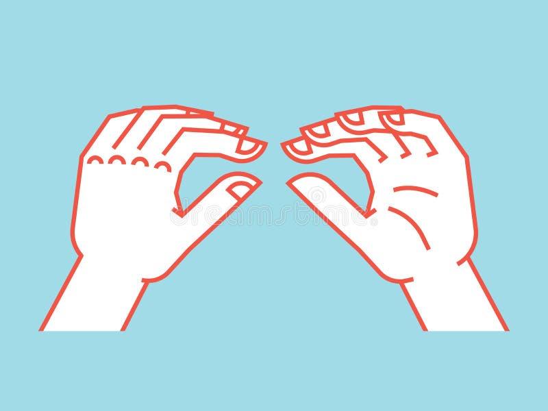 姿态 蜥蜴标志 怪杰手比赛的风格化手 图标 在蓝色背景的传染媒介例证 橙色线和 向量例证