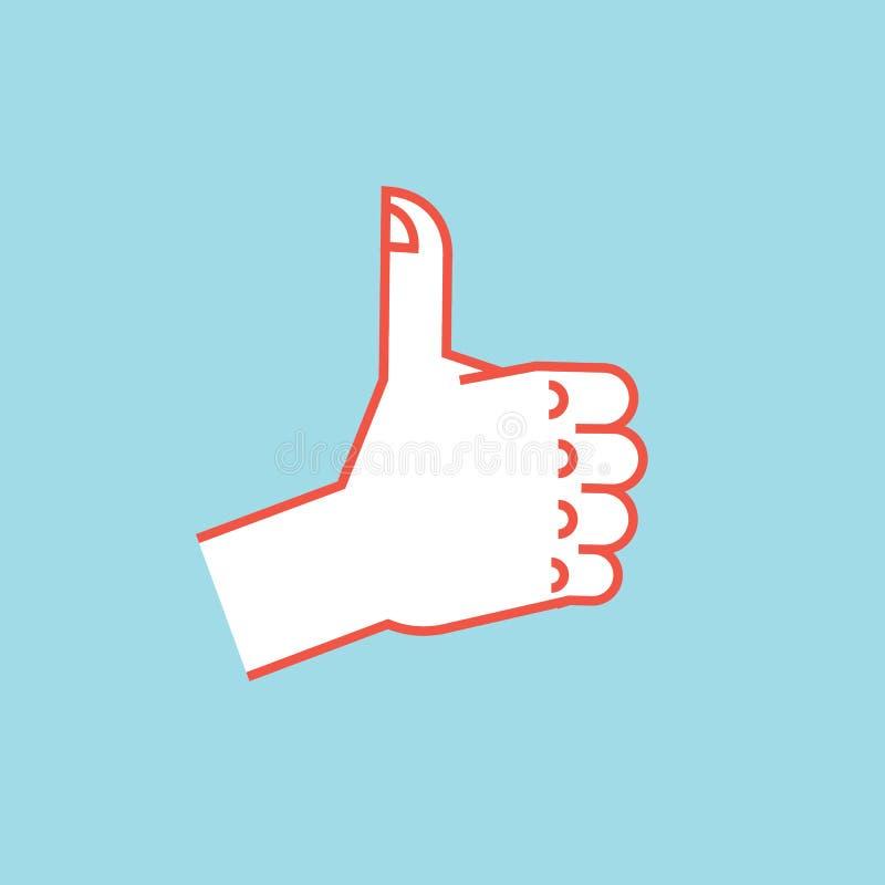 姿态 象符号 有赞许的风格化手 向量 向量例证
