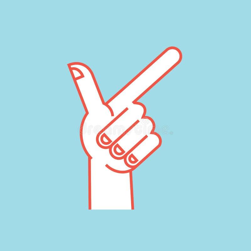 姿态 3d方向照片回报了符号 有索引和拇指手指的风格化手 图标 皇族释放例证