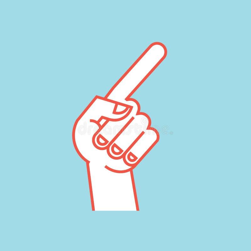 姿态 3d方向照片回报了符号 有食指的风格化手,弯曲的拇指 图标 皇族释放例证