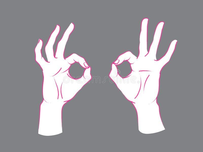 姿态 Okey标志 有组成圈子,其他手指的索引和拇指的两只女性手 库存例证