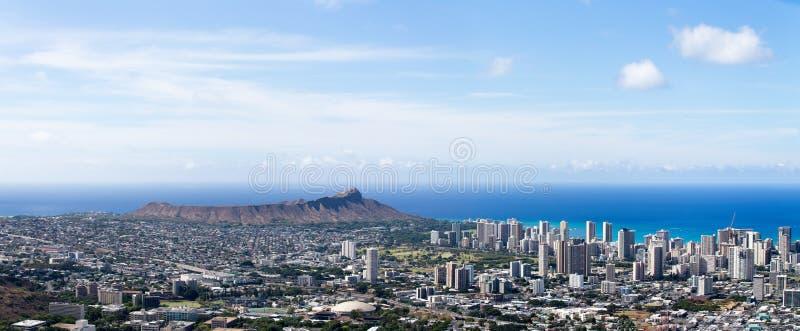 威基基和夏威夷大学鸟瞰图  免版税库存照片