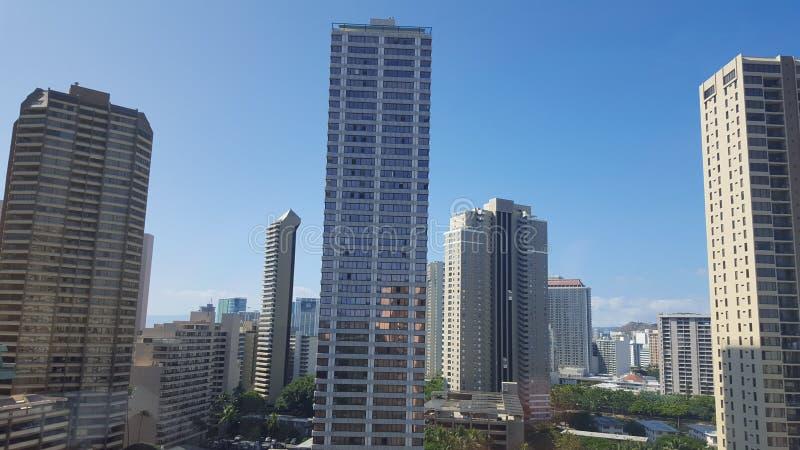 威基基夏威夷市scape 免版税图库摄影