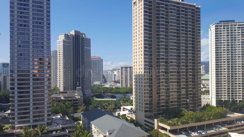 威基基夏威夷市scape 免版税库存照片
