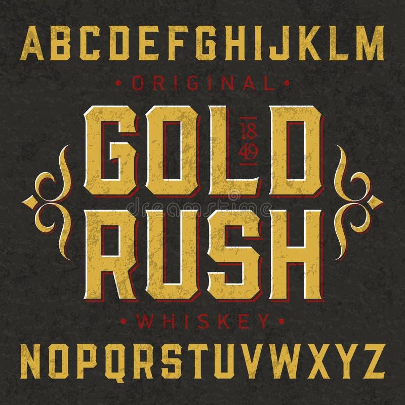 威士忌酒与范例设计的标签字体 向量例证