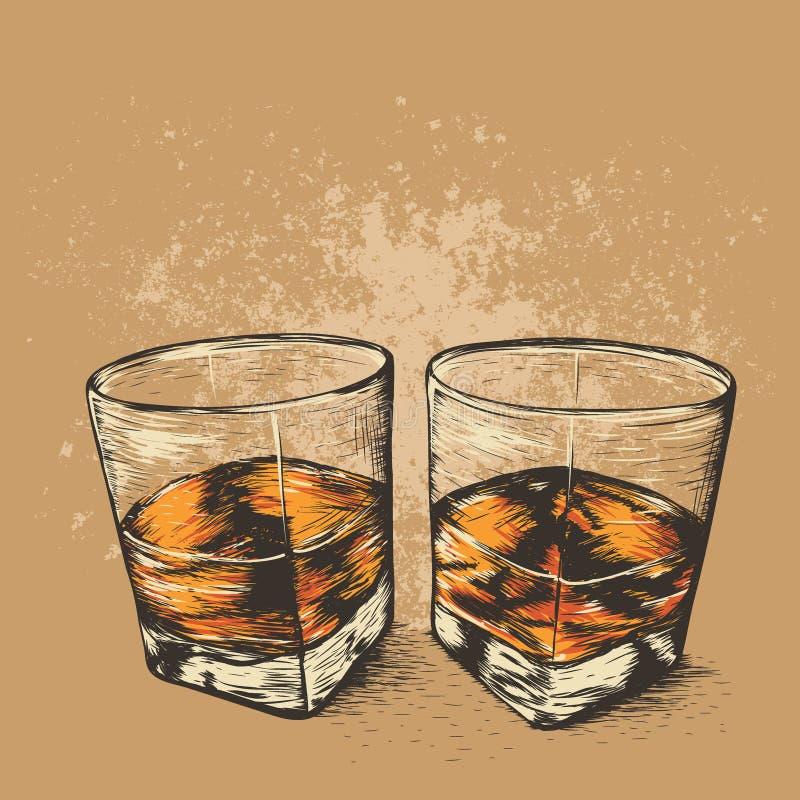 威士忌酒在两块玻璃中 库存例证