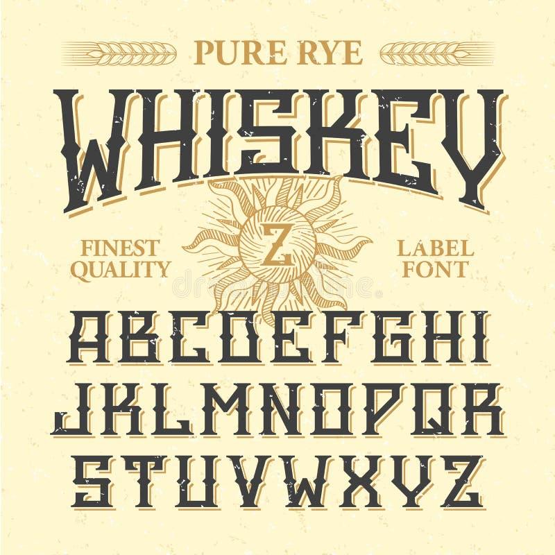威士忌酒标签与范例设计的葡萄酒字体 向量例证