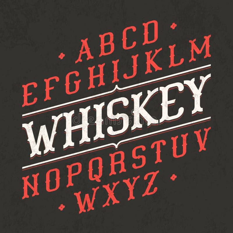 威士忌酒样式葡萄酒字体 库存例证