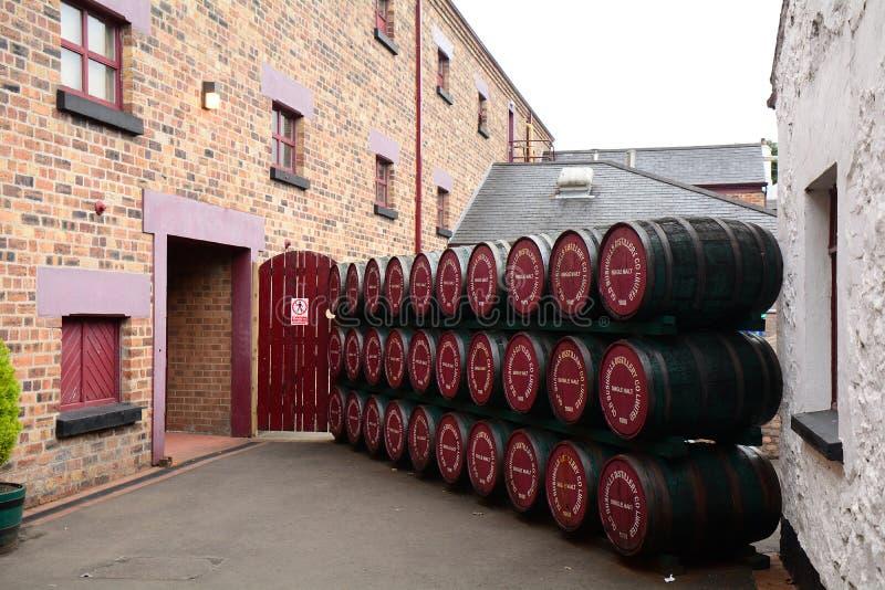 威士忌酒槽坊, Bushmills,北爱尔兰 库存照片