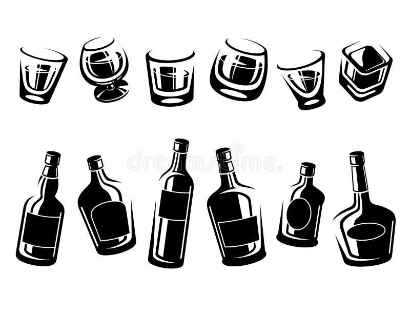 威士忌酒瓶和玻璃集合 向量 皇族释放例证