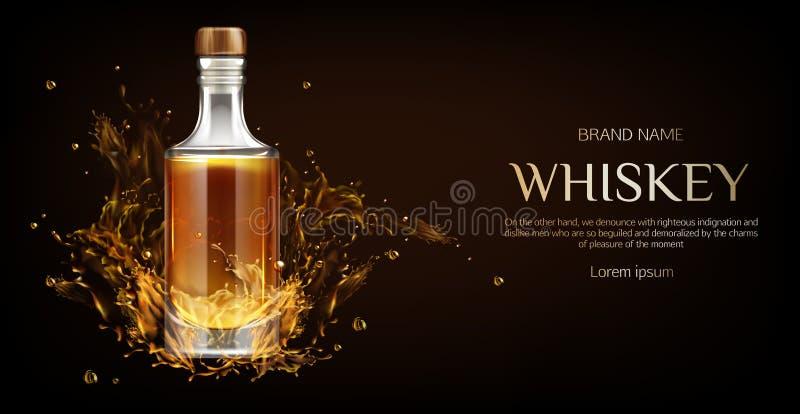 威士忌酒瓶大模型,有烈性饮料的烧瓶 向量例证