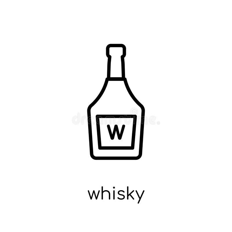 威士忌酒象 在whi的时髦现代平的线性传染媒介威士忌酒象 皇族释放例证