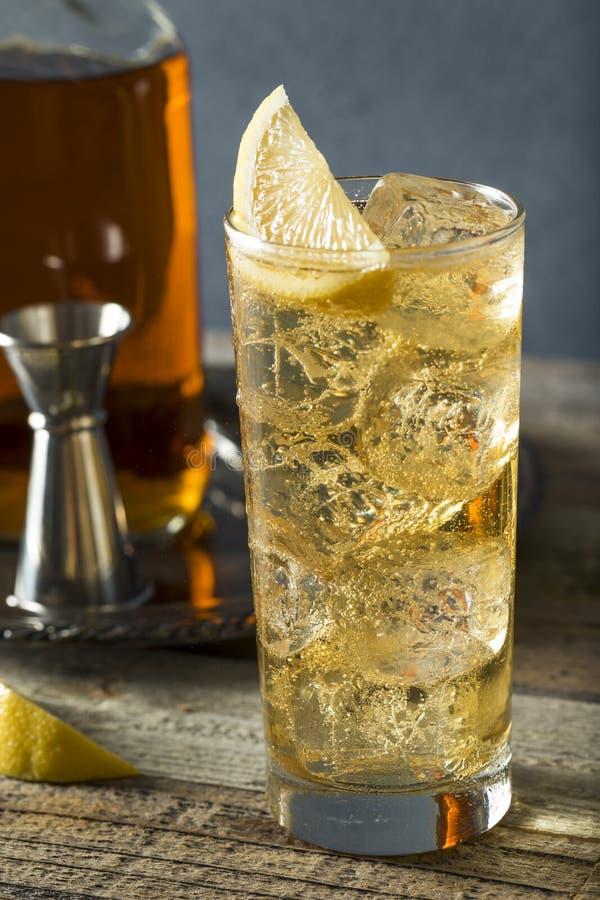 威士忌酒Highball用姜汁无酒精饮料 免版税库存照片