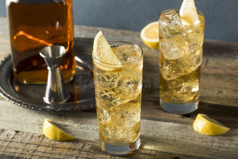 威士忌酒Highball用姜汁无酒精饮料 免版税图库摄影