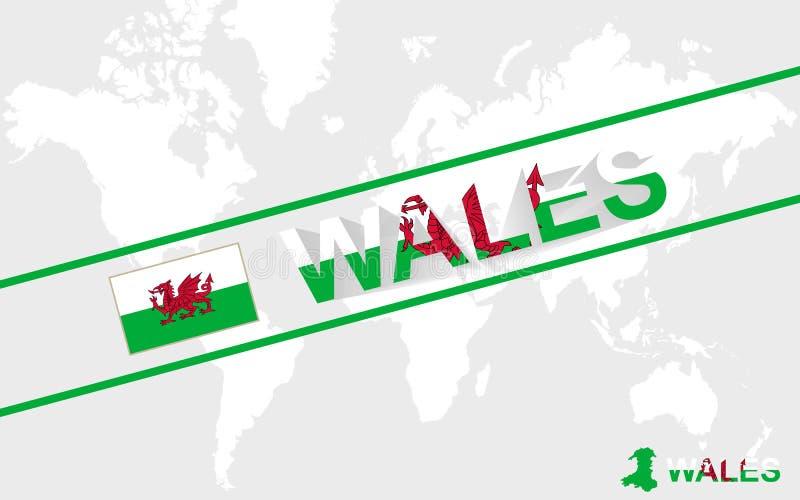 威尔士地图旗子和文本例证 库存例证
