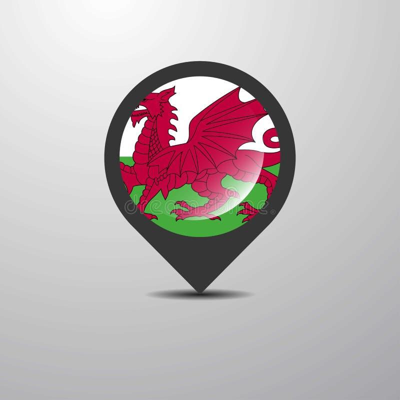 威尔士地图Pin 库存例证