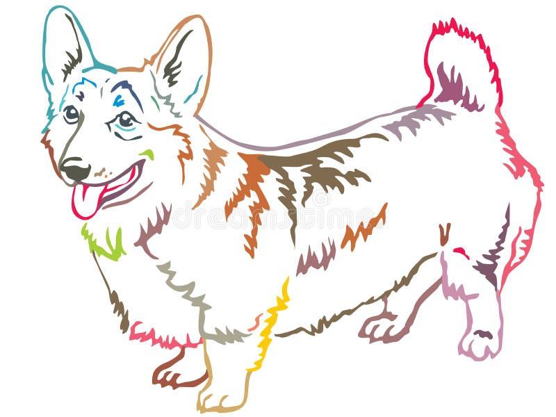 威尔士小狗传染媒介illu五颜六色的装饰常设画象  皇族释放例证