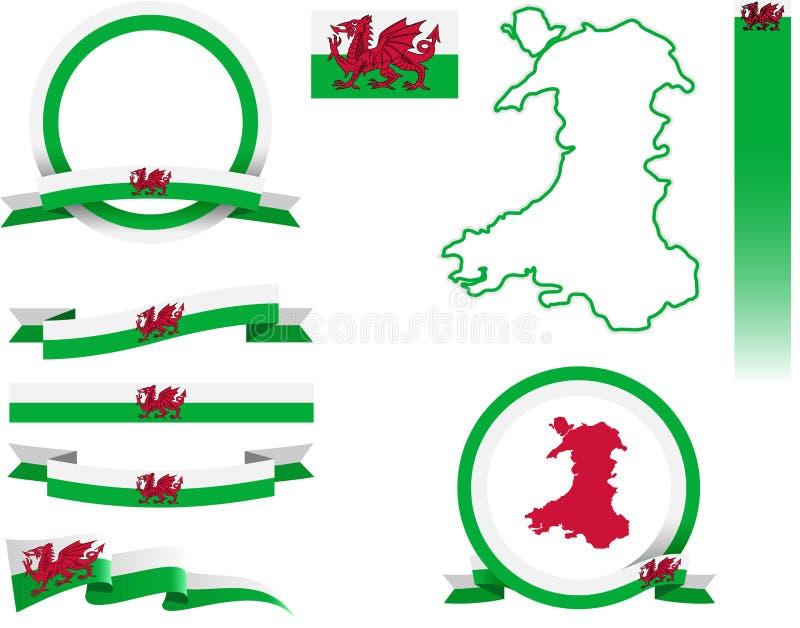 威尔士横幅集合 皇族释放例证