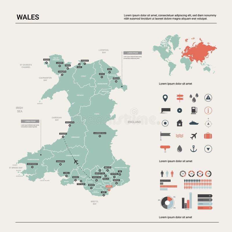 威尔士的传染媒介地图 与分裂、城市和首都加的夫的高详细的国家地图 政治地图,世界地图,infographic 向量例证