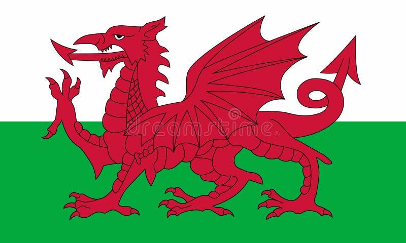 威尔士的旗子 r 世界旗子 向量例证
