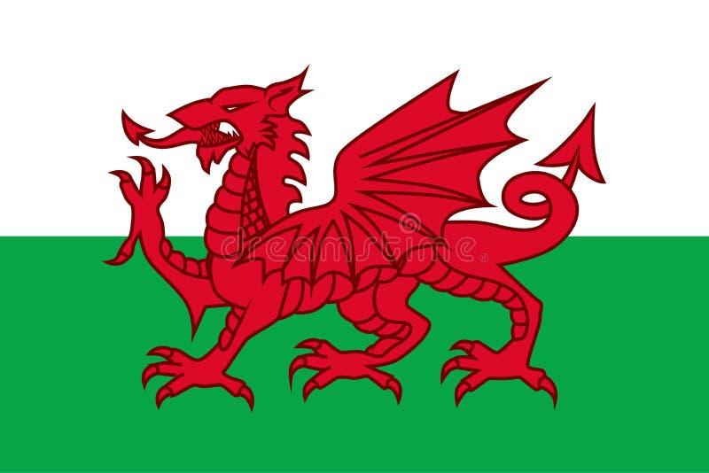 威尔士,详细设计的国旗 r 皇族释放例证