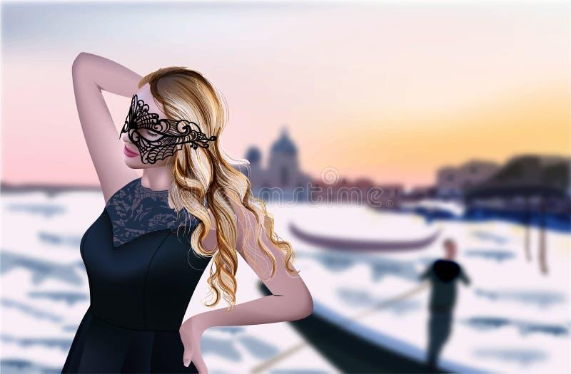 威尼斯传染媒介的女孩 背景美好的日落 大运河 黑面具和礼服 皇族释放例证
