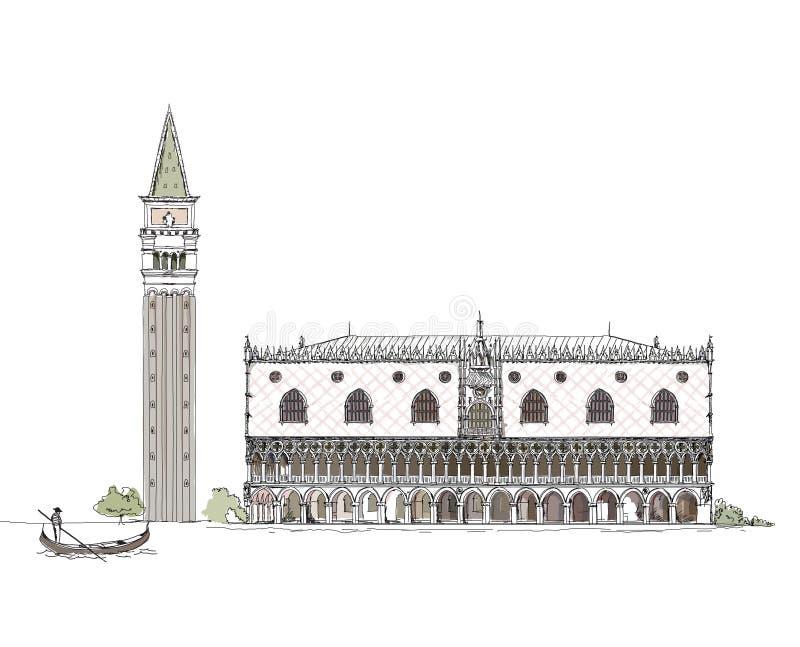 威尼斯剪影汇集、共和国总督的宫殿和镇在正方形,详细的例证耸立 库存例证