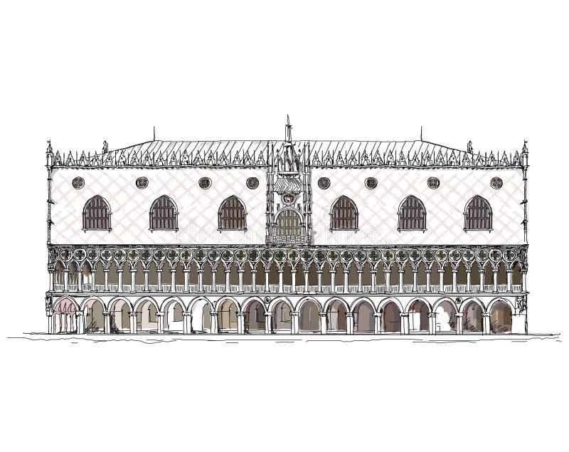 威尼斯剪影汇集,共和国总督的宫殿详述了例证 库存例证