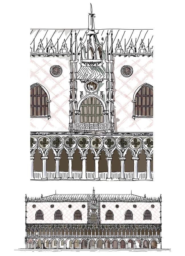 威尼斯剪影汇集,共和国总督的宫殿详述了例证 向量例证