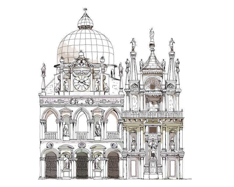 威尼斯剪影汇集,共和国总督的法院例证 库存例证
