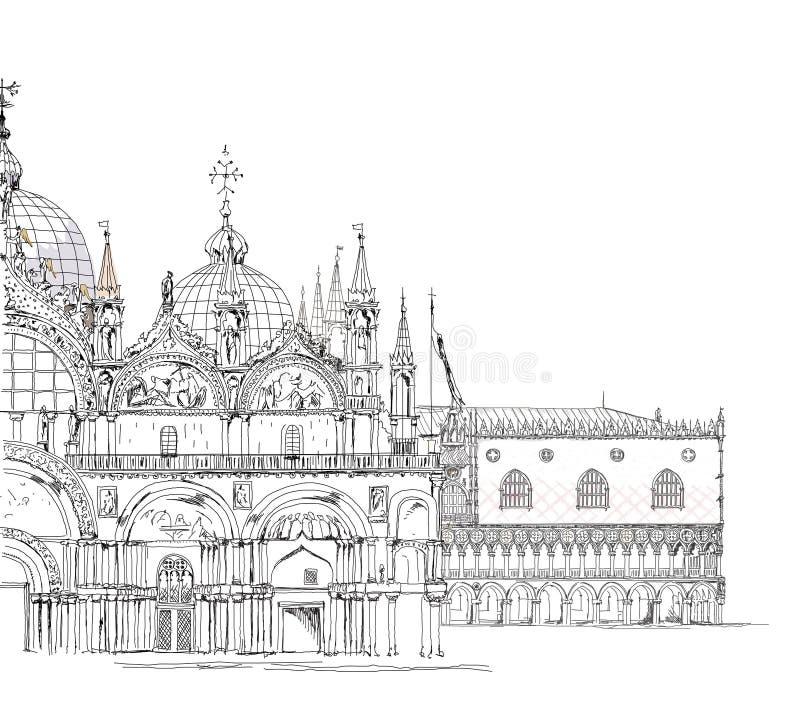 威尼斯剪影汇集,圣Marco和共和国总督的palase,详细的例证 库存例证