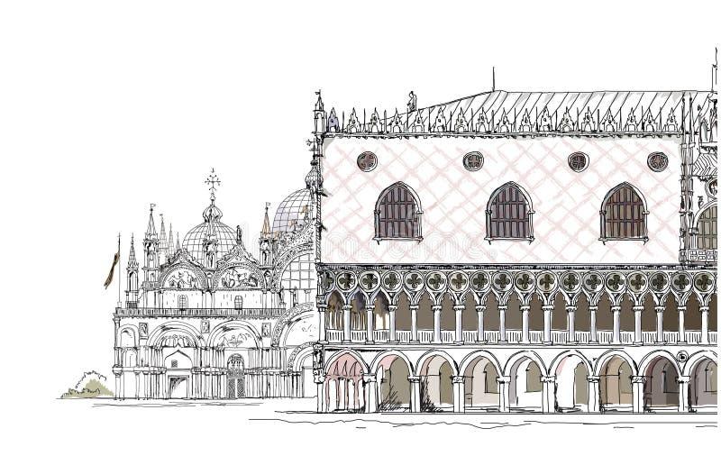 威尼斯剪影汇集,圣Marco和共和国总督的palase,详细的例证 向量例证