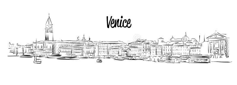 威尼斯地平线,意大利,手拉的传染媒介剪影 向量例证