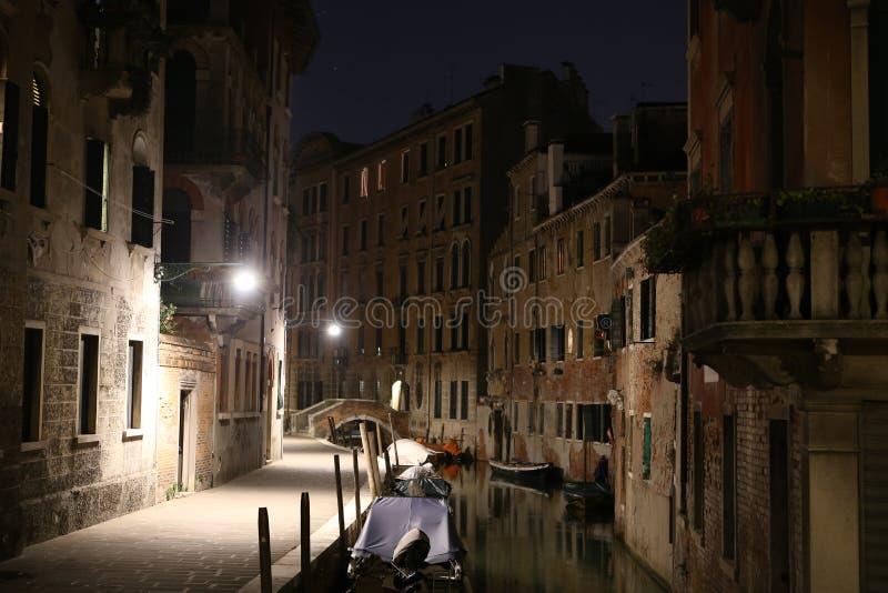 威尼斯夜视图,意大利 免版税库存照片