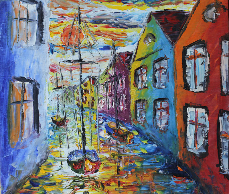 威尼斯小船漂浮在街道的,油画 库存例证