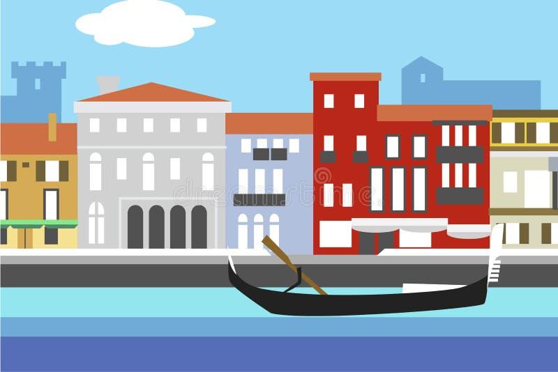 威尼斯市五颜六色的平的样式传染媒介例证 与堤防、大厦和长平底船的都市风景 您的设计的构成 库存例证