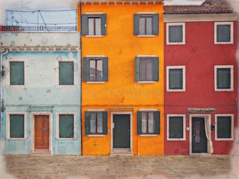 威尼斯布拉诺彩色彩绘房屋排的水彩图 图库摄影