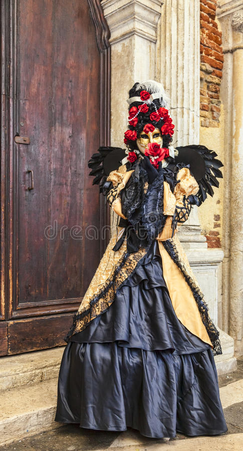 威尼斯式乔装-威尼斯狂欢节2014年 免版税库存照片