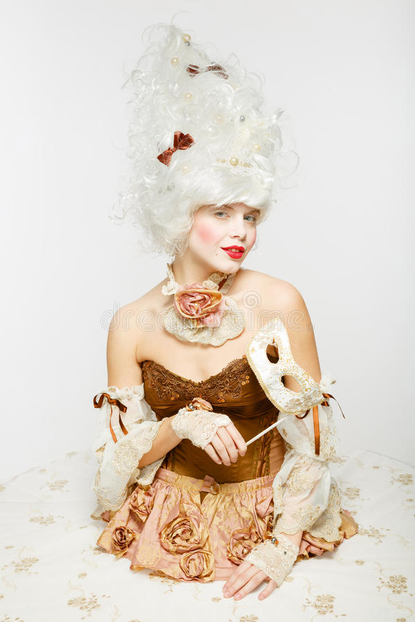 威尼斯式公主。化妆舞会。 库存照片