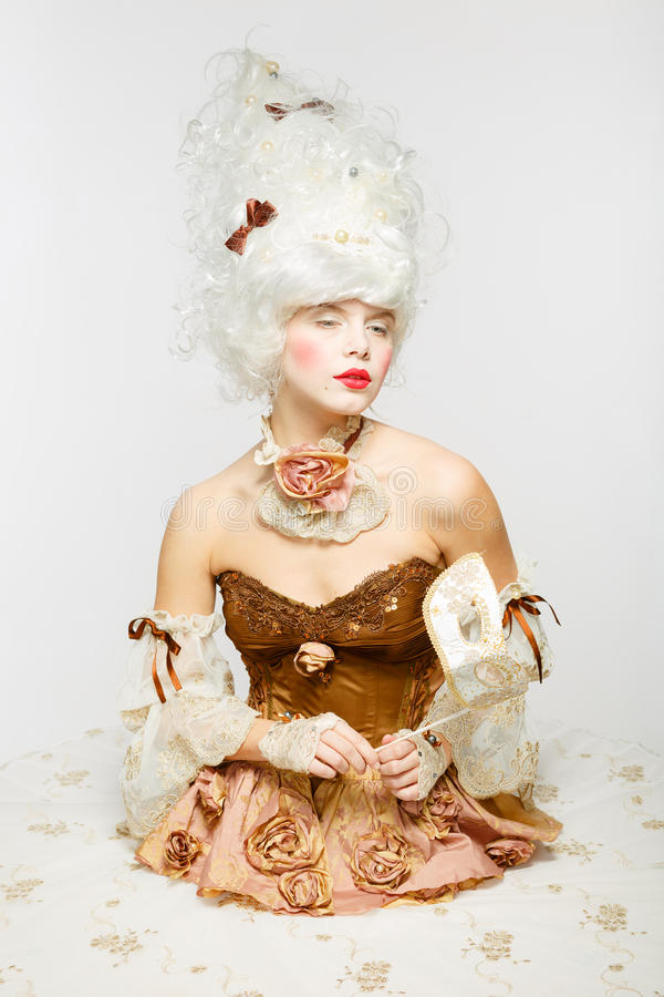 威尼斯式公主。化妆舞会。 免版税库存照片